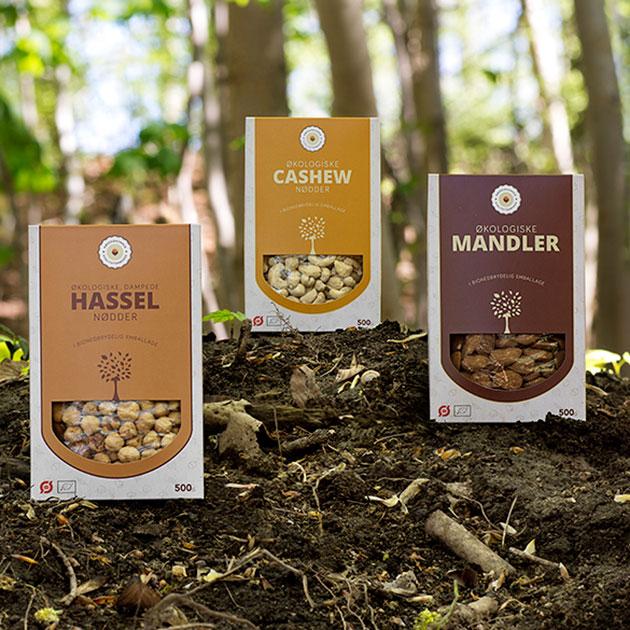 Økologiske nødder i økologisk emballage