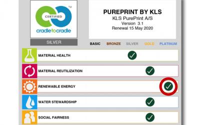 KLS PurePrint tredje virksomhed i verden med platin på vedvarende energi og CO2