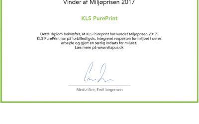 KLS PurePrint vinder Miljøpris